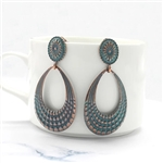 Copper colored teardrop earrings with blue detail