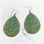 Large copper and green teardrop earrings with flowers