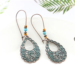 Teardrop blue and copper earrings with lace detail
