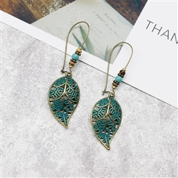 Antique gold and blue leaf earrings