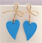 Gold ribbon with heart earrings