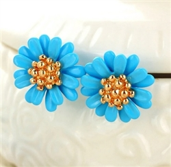 Blue and gold flower post earrings