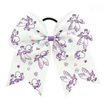 Giant white bow with purple unicorns