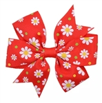 Red hair bow with white flowers