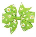 Green hair bow with white flowers