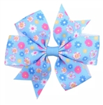 Blue hair bow with pink and yellow flowers
