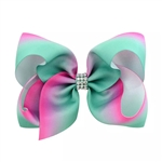 Large green and hot pink hair bow with rhinestones