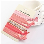 Set of 6 pink hair ties