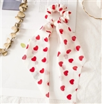 Chiffon hair tie with hearts