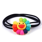 Rainbow flower hair tie