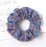 Blue and brown plaid scrunchie