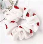 White chiffon scrunchie with strawberries