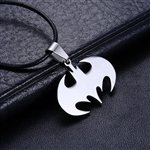 Silver batman pendant on black cord