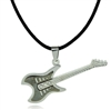 Silver guitar on black cord necklace