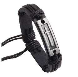Black leather bracelet with cross