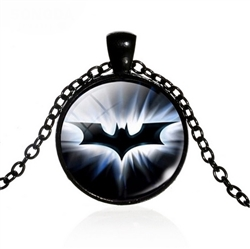 Black and white batman pendant necklace