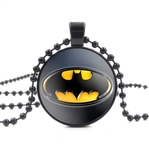 Black and yellow batman pendant necklace