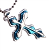 Blue and silver cross pendant necklace