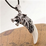 Black cord necklace with wolf tooth pendant