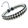 Braided black and white leather bracelet