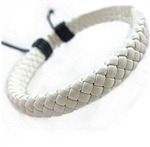 Braided white leather bracelet