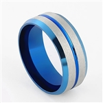 Silver and blue band ring