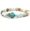 Light colored stone beaded turtle bracelet