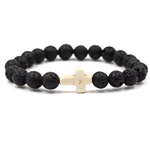 Black lava rock bracelet with white cross