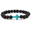 Black lava rock bracelet with blue cross