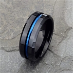 Black band ring with blue detail
