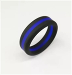 Black silicone ring with blue detail