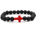 Black lava rock bracelet with purple cross