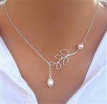 Silver leaf lariat necklace with pearl beads