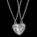 Silver best friends necklace set