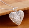 Silver locket heart necklace