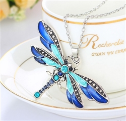 Blue dragonfly pendant necklace