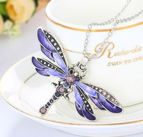 Purple Dragonfly Pendant Necklace