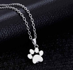Silver paw print charm necklace