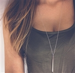 Long silver pendant necklace