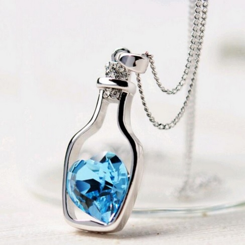 Silver bottle with blue heart necklace f3ca921b04f2