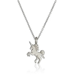 Silver necklace with unicorn charm