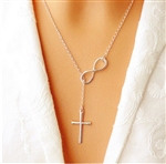 Silver infinity and cross lariat necklace