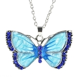 Large blue butterfly pendant necklace