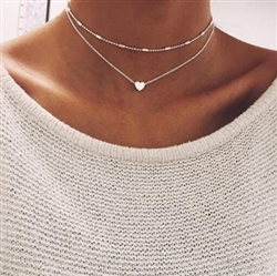 Double layered silver necklace with heart
