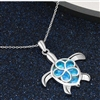 Blue and silver turtle pendant necklace