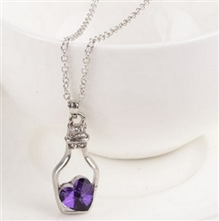 Silver bottle with purple heart necklace