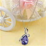 Purple rhinestone pendant necklace