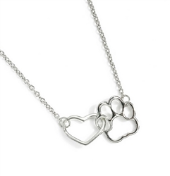 Silver heart and paw print necklace