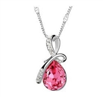 Bright pink rhinestone pendant necklace