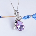 Light purple rhinestone pendant necklace